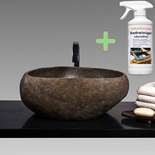 WOHNFREUDEN Naturstein Aufsatz-Waschbecken 40 cm + Reinigungsspray Aufsatzbecken Flußstein Findling
