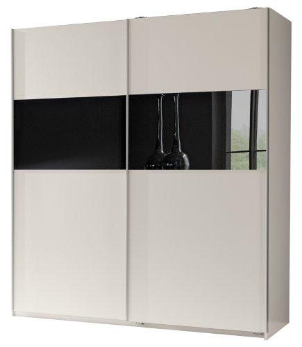 Wimex Kleiderschrank/ Schwebetürenschrank Arezzo, 2 Türen, (B/H/T) 198 x 64 x 180 cm, Weiß/ Absetzung Schwarz