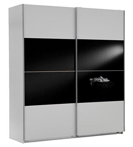 Wimex Kleiderschrank/ Schwebetürenschrank Easy A Plus, (B/H/T) 135 x 210 x 65 cm, Weiß/ Absetzung Glas Schwarz