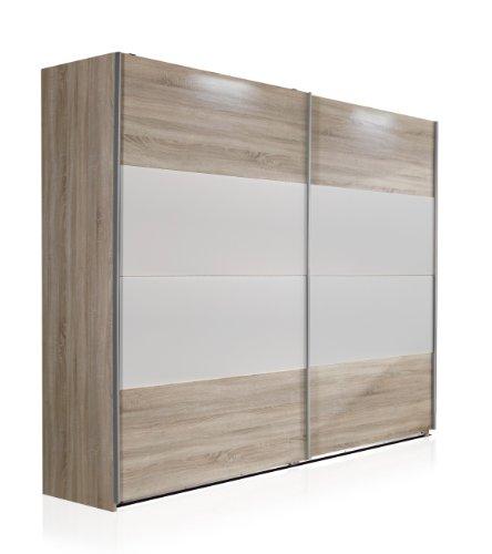 Wimex Kleiderschrank/ Schwebetürenschrank Vincenza, (B/H/T) 225 x 210 x 65 cm, Eiche Sägerau/ Absetzung Alpinweiß
