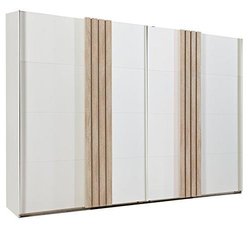 Wimex Kleiderschrank/ Schwebetürenschrank Burgos, ohne Spiegeltür, (B/H/T) 270 x 210 x 65 cm, Alpinweiß/ Absetzung Eiche Sägerau