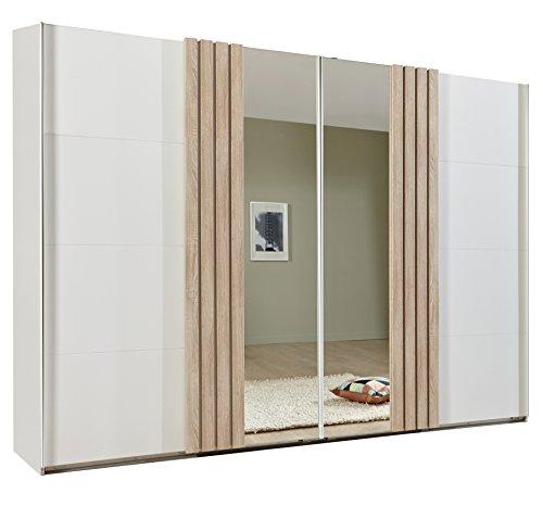 Wimex Kleiderschrank/ Schwebetürenschrank Burgos, mit Spiegeltür, (B/H/T) 270 x 210 x 65 cm, Alpinweiß/ Absetzung Eiche Sägerau