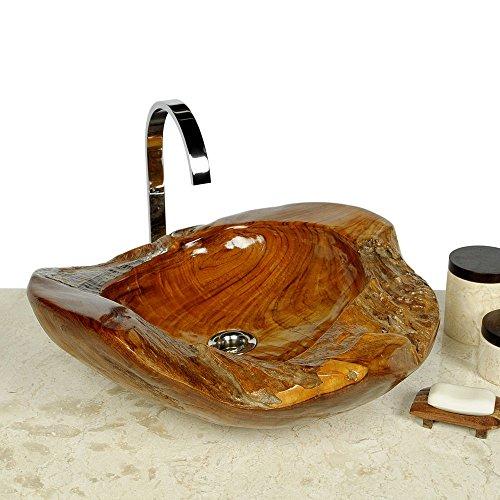 WOHNFREUDEN Teakholz Waschbecken rund ca 45 cm ✓ Top Qualität ✓ einzeln fotografiert + Auswahl Teakwaschbecken aus Bildergalerie ✓ Top Kundenservice ✓ Aufsatzwaschbecken aus Teakholz für ihr Badezimmer