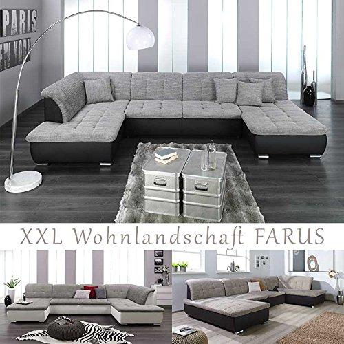 xxl wohnlandschaft couchgarnitur farus u form versch farben ottomane rechts oder links. Black Bedroom Furniture Sets. Home Design Ideas