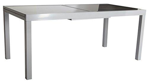 baumarkt direkt Gartentisch Amalfi, Aluminium, ausziehbar 100 cm, 120/180 cm, hellgrau