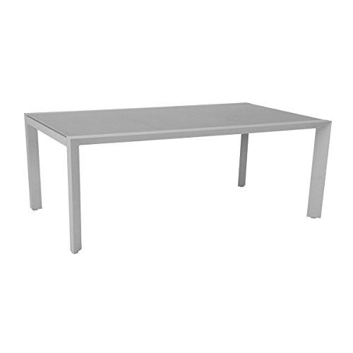 greemotion Tisch Stockholm weiß/grau, Gartentisch mit Glasplatte, hochwertiges Aluminiumgestell, witterungsbeständig und pflegeleicht, Maße ca. 150 x 90 x 75 cm