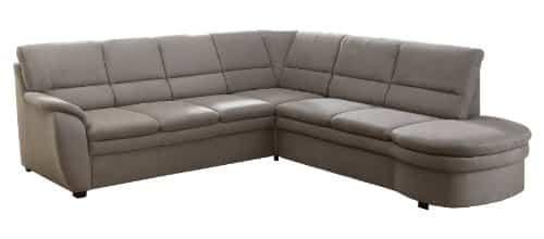 Cavadore Ecksofa Gingle / Sofa mit Federkern, Schlaffunktion, Relaxfunktion und hochwertigem Mikrofaser-Bezug in Wildlederoptik / Klassisches Design / Größe: 260 x 89 x 240 cm (BxHxT) / Farbe: Grau
