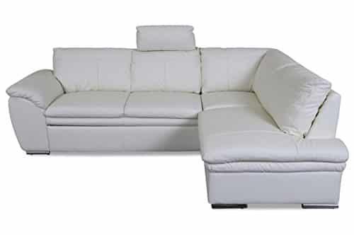 Sofa Couch Cotta Leder Ecksofa XL Felis - mit Schlaffunktion - Creme mit Federkern