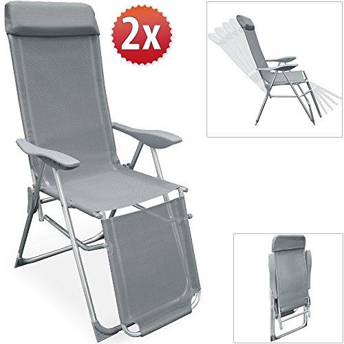 2er set alu klappstuhl mit integrieten kopfkissen 5 fach. Black Bedroom Furniture Sets. Home Design Ideas