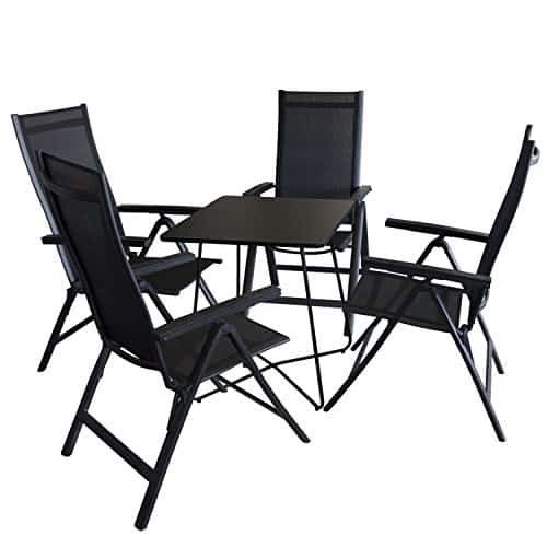 5tlg balkonm bel set bistrotisch metall 60x60cm schwarz 4x hochlehner aluminium. Black Bedroom Furniture Sets. Home Design Ideas