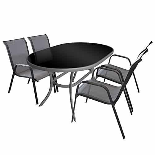 5tlg balkonm bel set gartengarnitur sitzgruppe aluminium for Glastisch schwarz