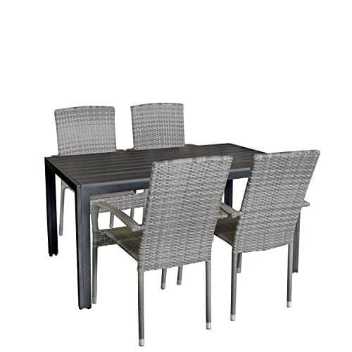 5tlg gartengarnitur aluminium polywood gartentisch 150x90cm poly rattan sessel rattanstuhl. Black Bedroom Furniture Sets. Home Design Ideas