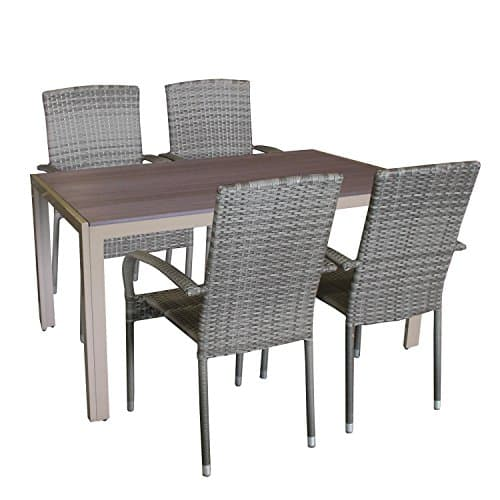 5tlg gartengarnitur aluminium polywood gartentisch 150x90cm polyrattan stapelst hle sessel. Black Bedroom Furniture Sets. Home Design Ideas