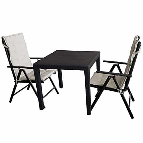 5tlg gartengarnitur gartentisch kunststoff 79x79cm. Black Bedroom Furniture Sets. Home Design Ideas