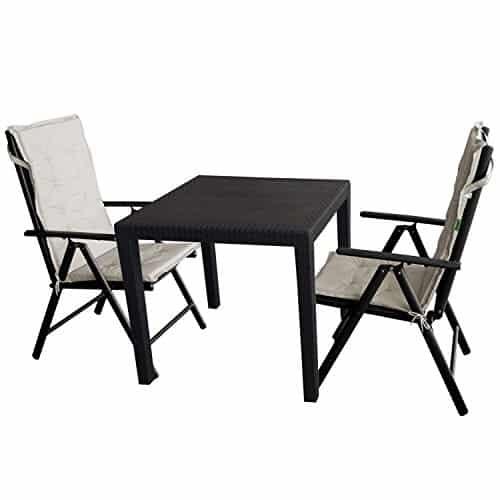 5tlg gartengarnitur gartentisch kunststoff 79x79cm rattan. Black Bedroom Furniture Sets. Home Design Ideas