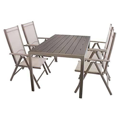 5tlg gartenm bel set sitzgruppe aluminium polywood non. Black Bedroom Furniture Sets. Home Design Ideas