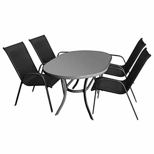 5tlg sitzgruppe terrassenm bel gartenm bel set gartengarnitur glastisch 140x90cm anthrazit. Black Bedroom Furniture Sets. Home Design Ideas