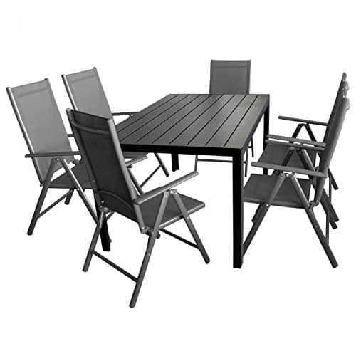 7tlg gartengarnitur gartenm bel terrassenm bel set sitzgruppe aluminium gartentisch polywood. Black Bedroom Furniture Sets. Home Design Ideas