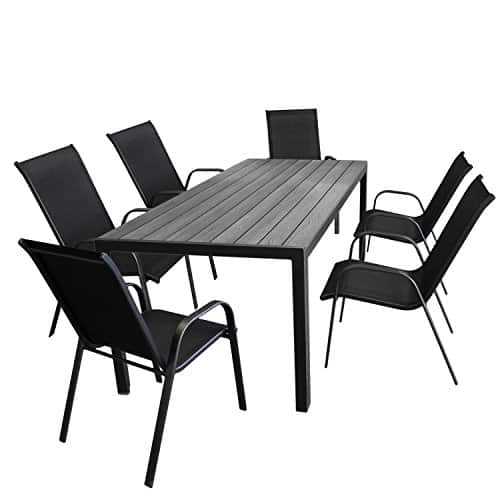 7tlg gartenm bel set aluminium gartentisch tischplatte. Black Bedroom Furniture Sets. Home Design Ideas