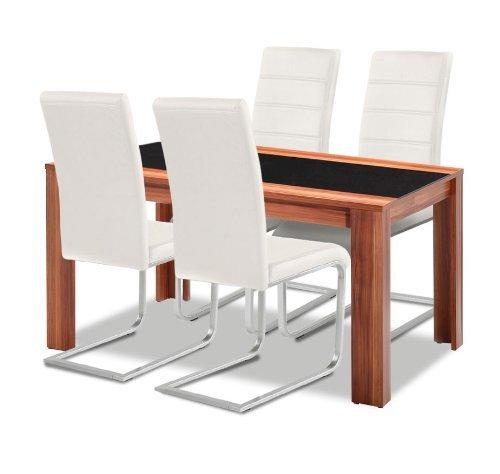 agionda esstisch stuhlset 1 x esstisch orlando nussbaum mit schwarzglas 4 freischwinger. Black Bedroom Furniture Sets. Home Design Ideas