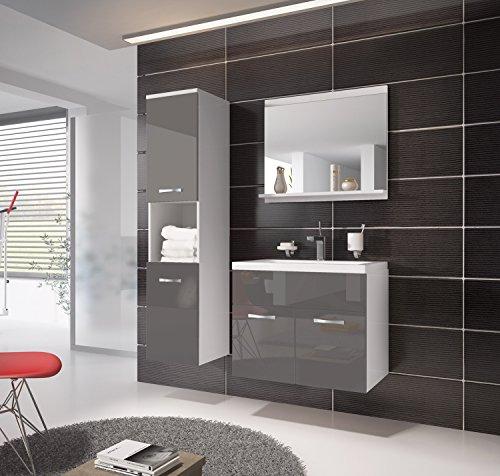badezimmer badm bel montreal 60 cm waschbecken hochglanz grau fronten unterschrank hochschrank. Black Bedroom Furniture Sets. Home Design Ideas