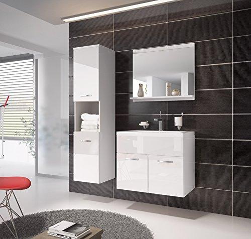 badezimmer badm bel montreal 60 cm waschbecken hochglanz wei fronten unterschrank hochschrank. Black Bedroom Furniture Sets. Home Design Ideas