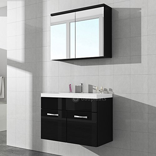 badezimmer badm bel paso 02 80 cm waschbecken hochglanz schwarz fronten unterschrank schrank. Black Bedroom Furniture Sets. Home Design Ideas