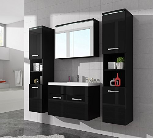 badezimmer badm bel paso xl led 80 cm waschbecken hochglanz schwarz fronten unterschrank 2x. Black Bedroom Furniture Sets. Home Design Ideas
