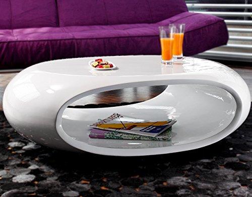 Couch Tisch Hochglanz Weiss Oval 100x70 Cm Aus Fiberglas