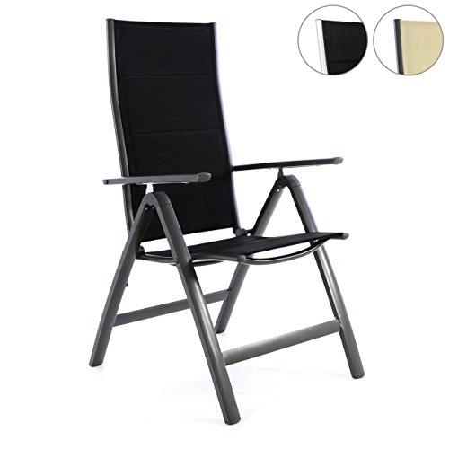 deluxe alu klappstuhl gepolstert schwarz creme gartenstuhl. Black Bedroom Furniture Sets. Home Design Ideas