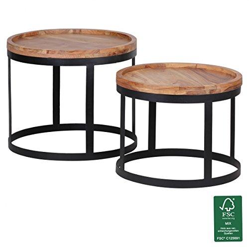 Finebuy massivholz beistelltisch 2er set wohnzimmertisch for Wohnzimmertisch 2er set