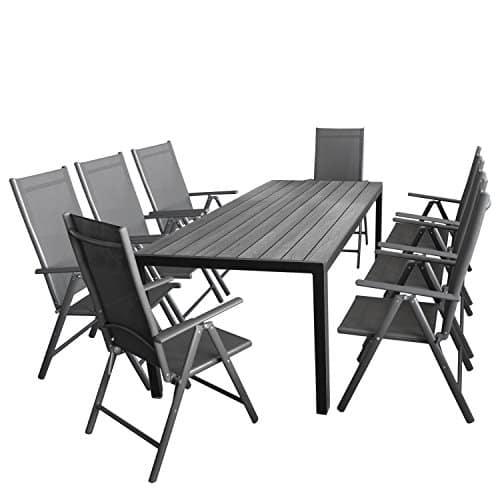 gartenm bel set 7tlg sitzgarnitur mit aluminium polywood gartentisch 8x verstellbare. Black Bedroom Furniture Sets. Home Design Ideas