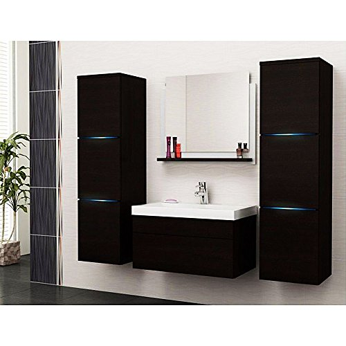home deluxe badm bel set cuxhaven schwarz hochglanz inkl waschbecken und komplettem. Black Bedroom Furniture Sets. Home Design Ideas
