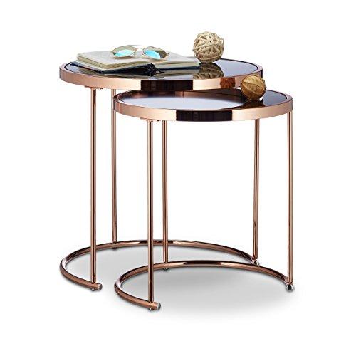 relaxdays satztische rund chromgestell 2er set modernes. Black Bedroom Furniture Sets. Home Design Ideas