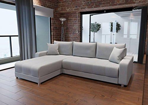 sofa ecksofa eckcouch schlafsofa schlafcouch gstebett gstebettfunktion bettkasten webstoff grau. Black Bedroom Furniture Sets. Home Design Ideas