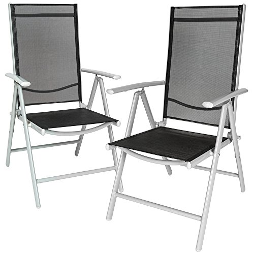 tectake 2er set aluminium klappstuhl gartenstuhl verstellbar mit armlehnen silber schwarz. Black Bedroom Furniture Sets. Home Design Ideas