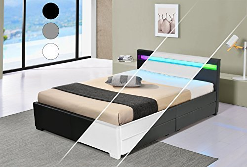 led bett lyon doppelbett polsterbett lattenrost kunstleder gestell bettkasten 160x200 schwarz. Black Bedroom Furniture Sets. Home Design Ideas