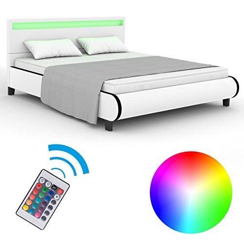 Homelux LED Bett Polsterbett Kunstlederbett Doppelbett Bettgestell Bettrahmen 140 x 200 cm Weiss