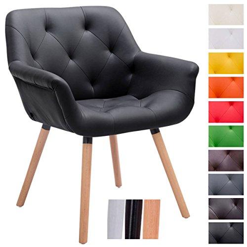 CLP Besucher-Stuhl CASSIDY, Kunstleder-Bezug, belastbar bis 150 kg, Retro-Stuhl mit Armlehne, sesselförmiger Sitz, gepolstert, Sitzhöhe 45 cm Schwarz, Holzgestell Farbe natura