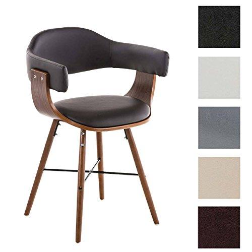 CLP Besucherstuhl BARRIE V2, walnuss, Retro-Stuhl mit Armlehne, Sitzfläche gut gepolstert, Holzgestell Braun
