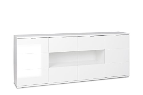 Intertrade Shine 5, Sideboard inklusiv Beleuchtung, Holzdekor, led weiß, 200 x 40 x 85 cm
