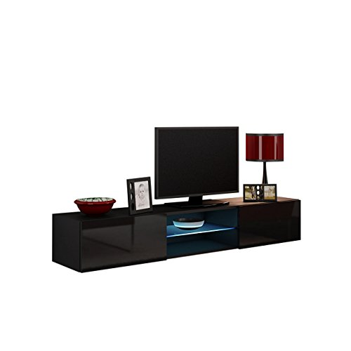 tv lowboard vigo glas 180 cm fernsehschrank tv schrank mit geh rtes glasboden h ngeschrank. Black Bedroom Furniture Sets. Home Design Ideas