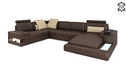 Ledersofa braun XXL Wohnlandschaft Leder Couch Sofa U-Form Ecksofa Ledercouch Eckcouch mit LED-Licht Beleuchtung Designsofa LATIUM