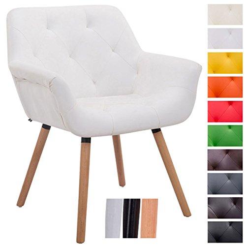 CLP Besucher-Stuhl CASSIDY, Kunstleder-Bezug, belastbar bis 150 kg, Retro-Stuhl mit Armlehne, sesselförmiger Sitz, gepolstert, Sitzhöhe 45 cm Weiß, Holzgestell Farbe natura