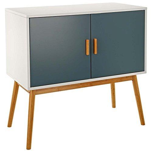 LOMOS® No. 3Kommode aus Holz in weiß und zwei Türen in modernen Ton Grau