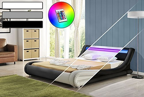led bett diablo doppelbett polsterbett lattenrost kunstleder bettgestell 140x200 wei m bel24. Black Bedroom Furniture Sets. Home Design Ideas