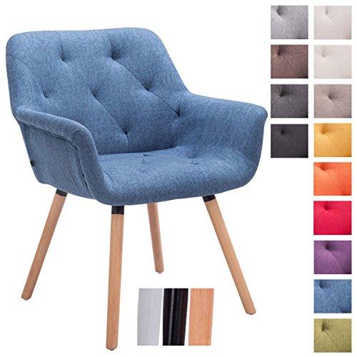 CLP Besucher-Stuhl CASSIDY, Stoff-Bezug, belastbar bis 150 kg, Retro-Stuhl mit Armlehne, sesselförmiger Sitz, gepolstert, Sitzhöhe 45 cm Blau, Holzgestell Farbe natura