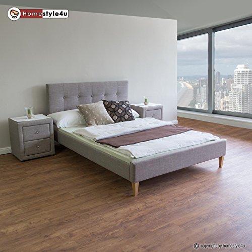 Homestyle4u Polsterbett Doppelbett Stoffbett Bettgestell 160 x 200 + Lattenrost Bett grau