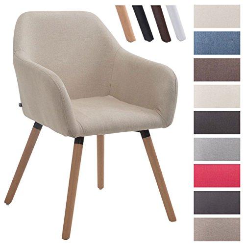 CLP Besucher-Stuhl ACHAT V2 mit Armlehne, max. Belastbarkeit 150 kg, Holz-Gestell, Stoff-Bezug, Sitzfläche gepolstert, mit Bodenschonern Creme, Gestellfarbe: Natura