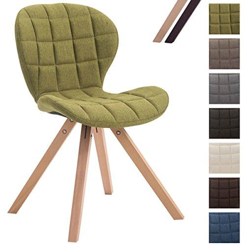 CLP Design Retro-Stuhl ALYSSA, Bein-Form square, Stoff-Sitz gepolstert, Lounge-Sessel, Buchenholz-Gestell, Grün, Gestellfarbe: Natura